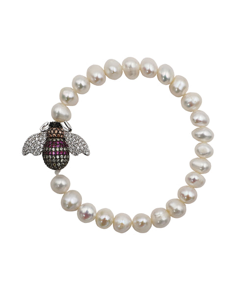 Fresh Water Pearl Stretch Bracelet w/ Bee ONLINE EXCLUSIVE - Fox's