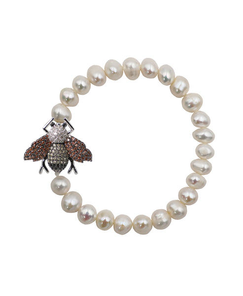 Zoom view for Fresh Water Pearl Stretch Bracelet w/ Bee ONLINE EXCLUSIVE - Fox's