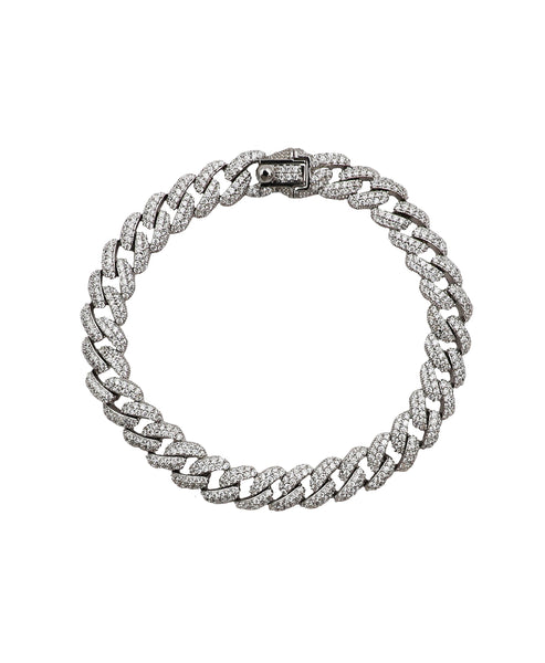Zoom view for Cuban Link 7mm Bracelet w/ CZ's - Fox's