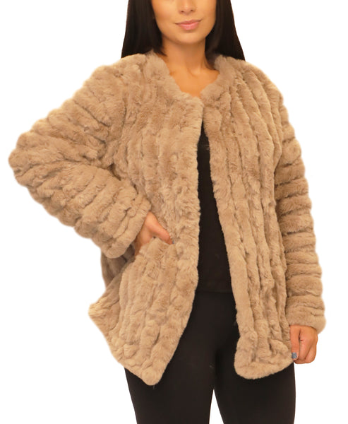Faux Fur Jacket w/ Faux Suede Insets - Fox's