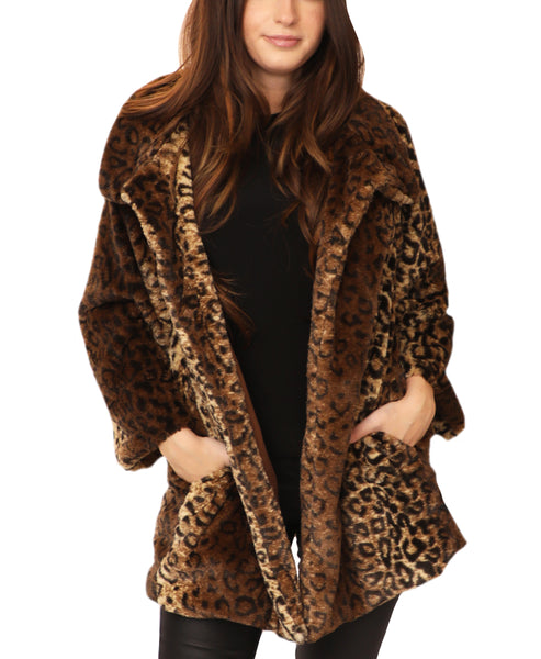 Faux Fur Leopard Swing Jacket - Fox's