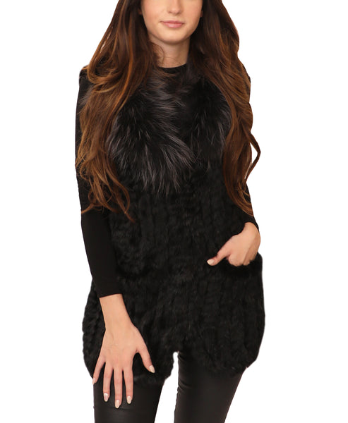 Rabbit Fur Vest w/ Detachable Fox Fur Collar - Fox's