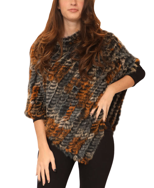 Rabbit Fur Knit Poncho - Fox's