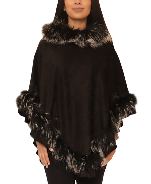 Faux Suede Poncho w/ Fox Fur Trim - Fox's