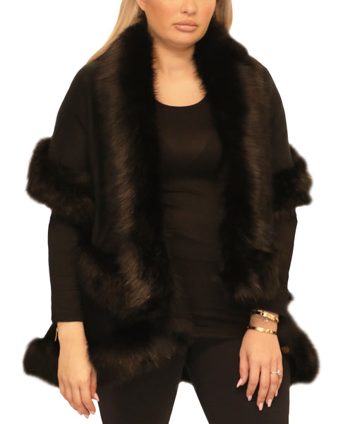 Cape w/ Faux Fur Trim - Fox's