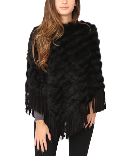 Rabbit Fur Poncho w/ Fringe