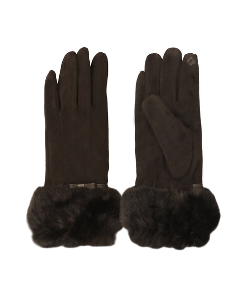 Faux Suede Gloves w/ Faux Fur Trim - Fox's