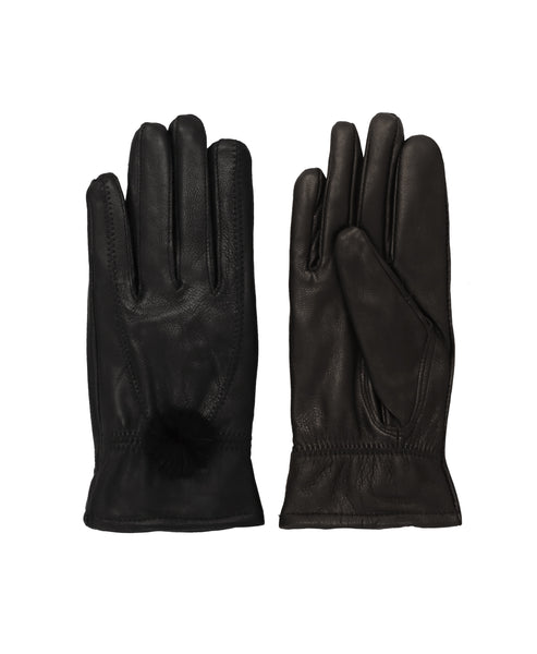 Leather Gloves w/ Mink Fur Pom - Fox's