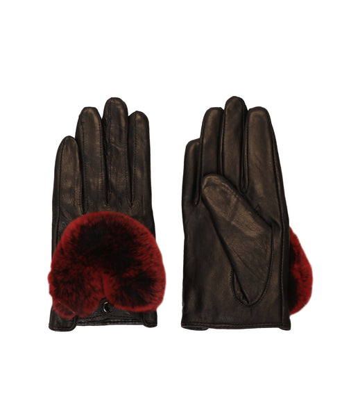 Leather Driving Gloves w/ Rabbit Fur Trim - Fox's