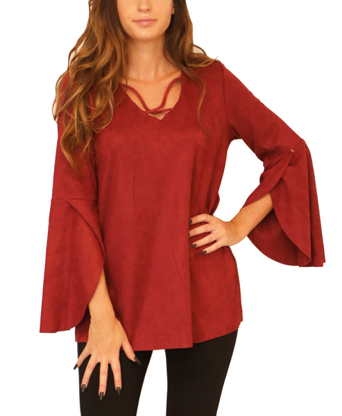 Faux Suede Bell Sleeve Top - Fox's