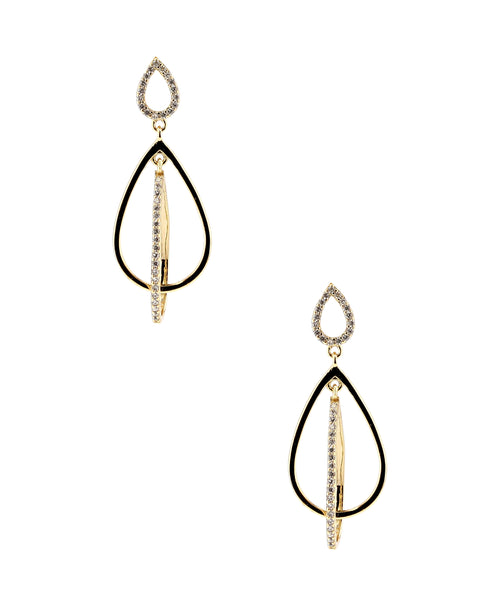 Zoom view for Double Teardrop Dangle Earrings w/ Swarovski Crystal