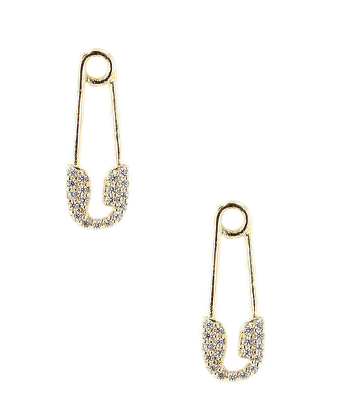 Zoom view for Mini Safety Pin Earrings w/ Cubic Zirconia