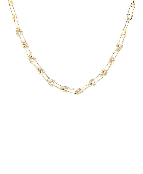 Zoom view for Mini Safety Pin Collar Necklace w/ Cubic Zirconia