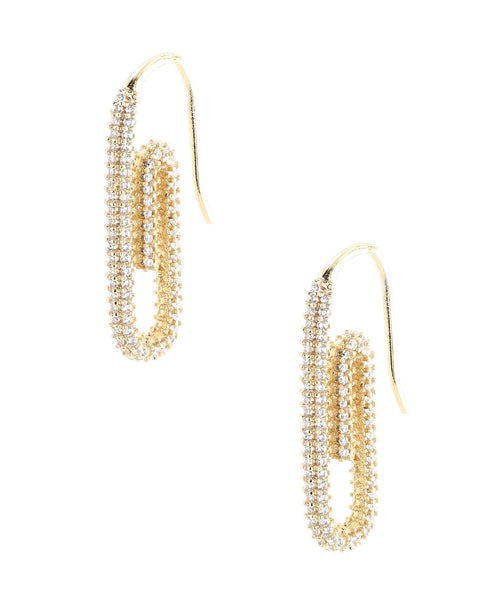 Zoom view for Paper Clip Earrings w/ Cubic Zirconia