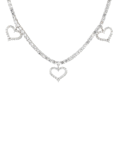 Zoom view for Hearts Tennis Necklace w/ Cubic Zirconia