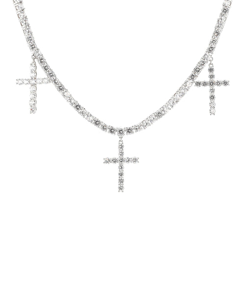 Zoom view for Cross Tennis Necklace w/ Cubic Zirconia