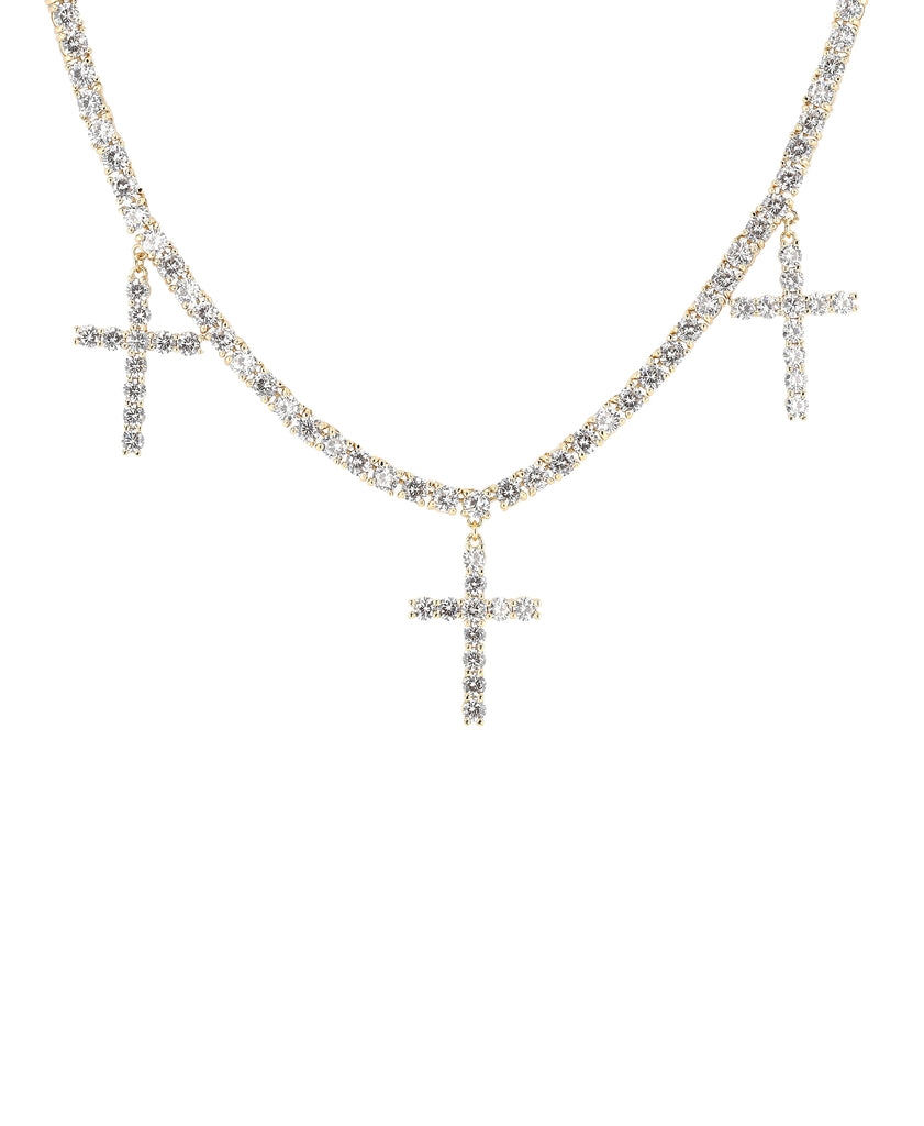 Cross Tennis Necklace w/ Cubic Zirconia