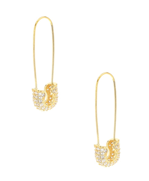 Zoom view for Safety Pin Earrings w/ Cubic Zirconia