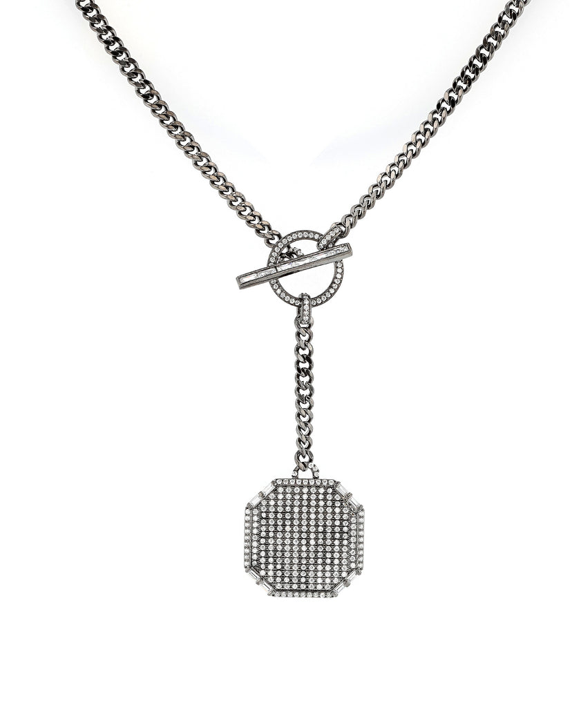 Toggle Drop Necklace w/ Cubic Zirconia