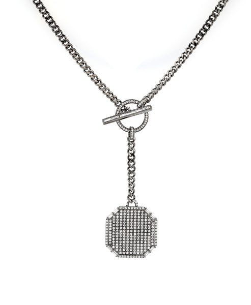 Zoom view for Toggle Drop Necklace w/ Cubic Zirconia
