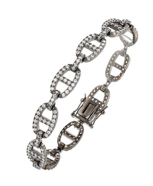 Zoom view for Open Link Bracelet w/ Cubic Zirconia A
