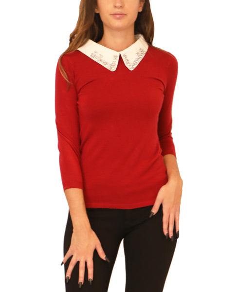 Sweater w/ Removable Jeweled Collar