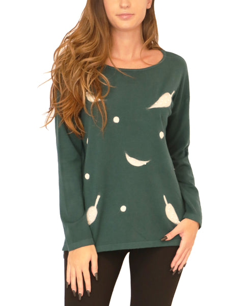Sweater w/ Leaf & Pearl Accents