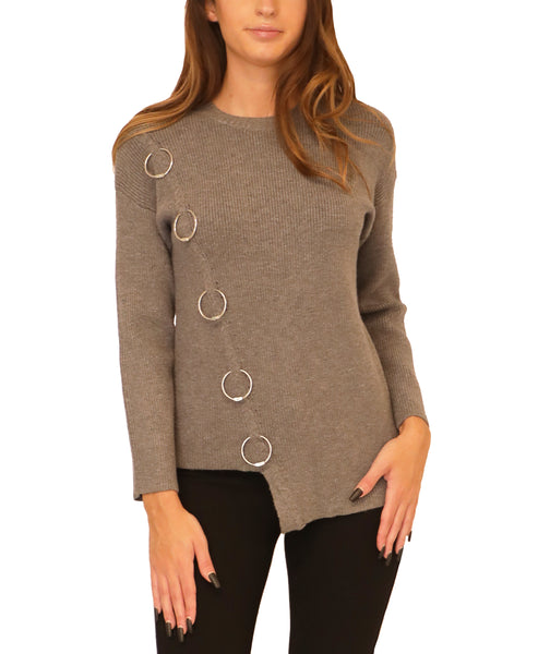 Asymmetrical Sweater w/ Ring Accents