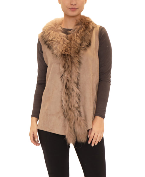 Faux Suede Vest w/ Fox Fur Trim