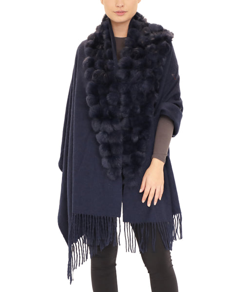 Wool Wrap w/ Rabbit Fur & Fringe Trim