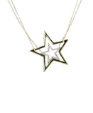 """Twin"" Stars Necklace w/ CZ - 2 Pc. Set"