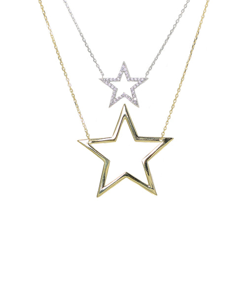 "Zoom view for ""Twin"" Stars Necklace w/ CZ - 2 Pc. Set"