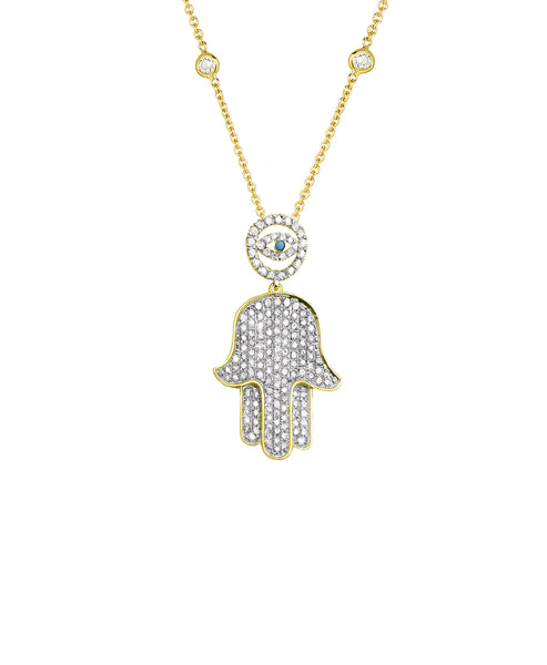 "Zoom view for ""Hamsa & Evil Eye w/ CZ's By The Yard"" 16"" Necklace"