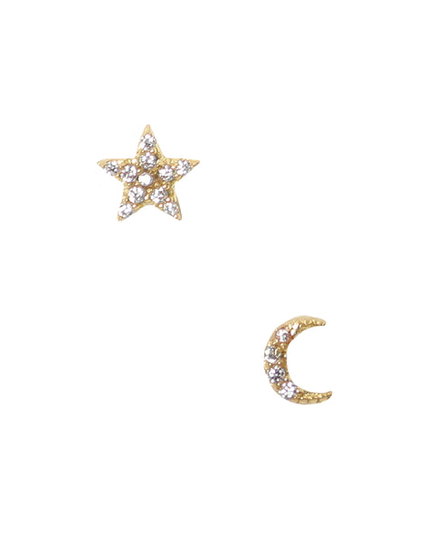 "Zoom view for ""Mini Moon & Star"" Earrings"