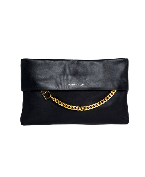 Zoom view for Leather Chain Zip Clutch
