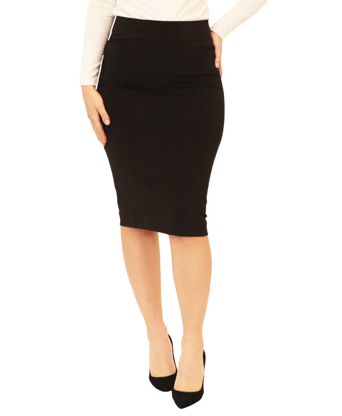 Cotton Pull On Pencil Skirt
