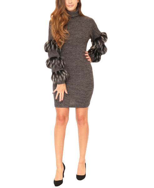 Knit Ribbed Dress w/ Faux Fur Sleeves