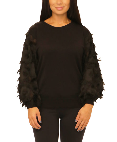 Lightweight Sweater w/ Eyelash Fringe Sleeves