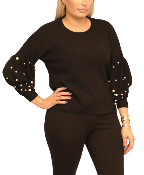 Lightweight Knit Sweater w/ Pearls
