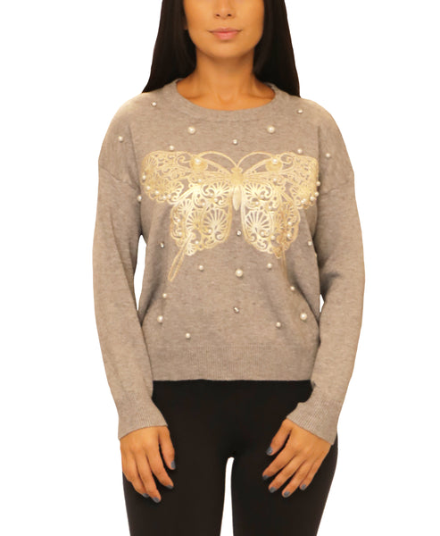 Sweater w/ Butterfly & Pearls
