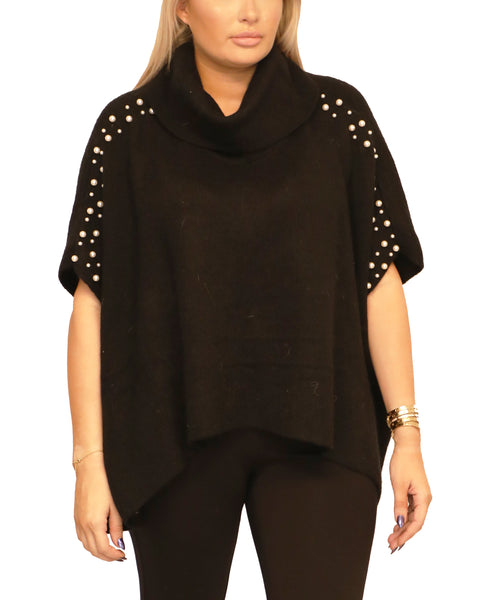 Poncho Sweater w/ Pearls