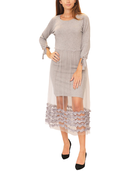 Sweater Dress w/ Tulle Ruffle Bottom