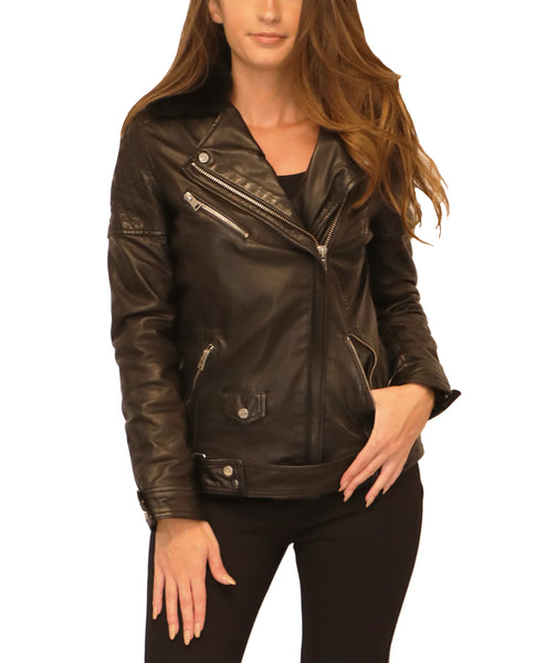 Leather Motorcycle Jacket w/ Shearling Collar
