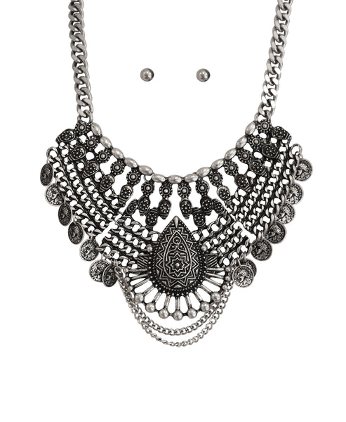 Zoom view for Antique Collar Necklace & Earring Set