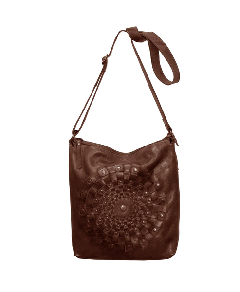 Zoom view for Leather Stitch & Stud Detail Medium Crossbody