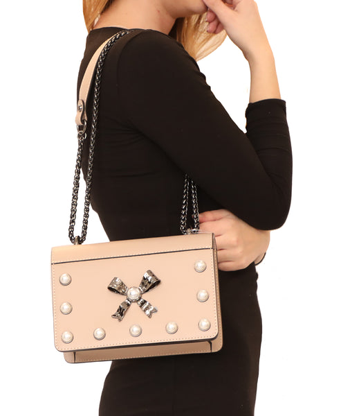 Leather Handbags w/ Chain Strap & Pearls