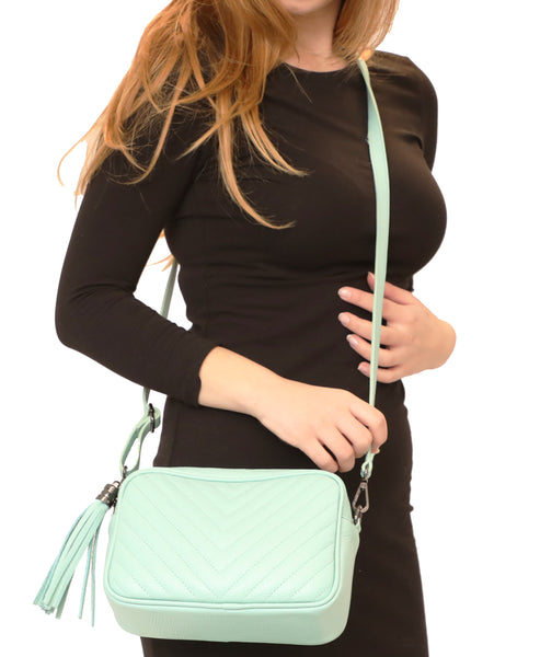 Leather Quilted Crossbody Handbag