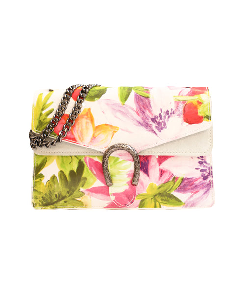 Leather Floral Print Handbag w/ Chain Strap