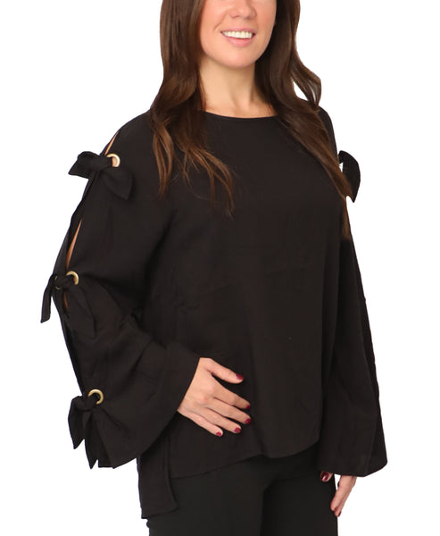 Blouse w/ Cutout Tie Sleeves - Fox's