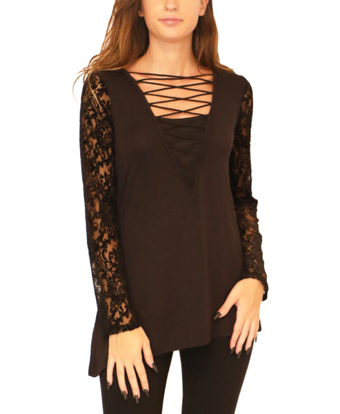 Top w/ Burnout Velvet Sleeves - Fox's